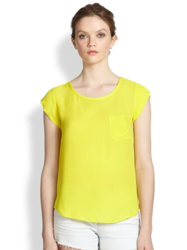 JOIE $158 CITRINE SILK RANCHER POCKET TEE BLOUSE TOP Small S