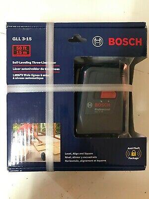 BRAND NEW Bosch GLL 3-15 Self Leveling Three Line Leveler FREE SHIPPING