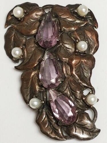 Vintage / Antique Amethyst Glass Cascading LEAF Scarf Fur Dress Sweater Clip