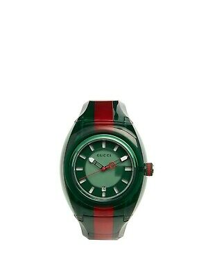 GUCCI Sync XXL 46MM Green Dial Men's Two Tone Green/Red Rubber Watch (YA137113)
