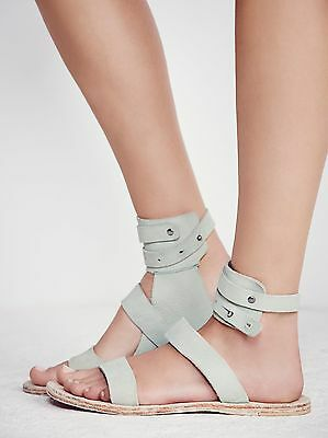 7cf54df08312 New  98 Free People Little Fox Lagoon Ankle Strap Leather Green Sold Out!