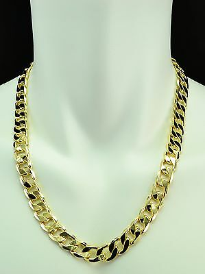 MENS HEAVY 14K YELLOW GOLD FILLED CUBAN LINK CHAIN NECKLACE 12MM - 24IN