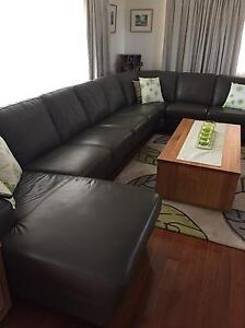 Leather modular lounge suite Chermside West Brisbane North East Preview