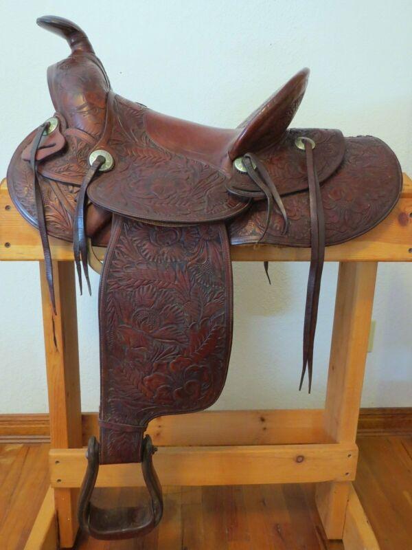 Rare Collectible Vintage FM Stern Marked Floral Carved Saddle
