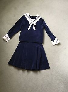 Girl's navy blue velvet SAILOR SUIT by Emma Goad,Size 10 - Innsbruck, Österreich - Girl's navy blue velvet SAILOR SUIT by Emma Goad,Size 10 - Innsbruck, Österreich