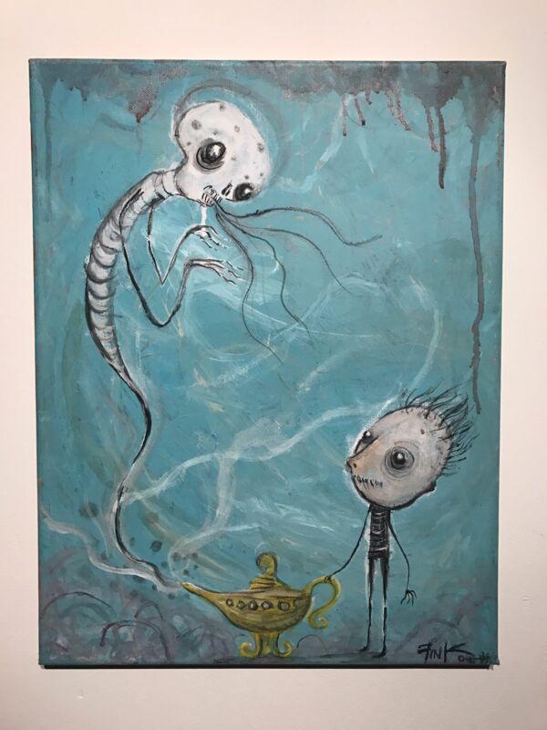 Gus Fink Art Original Painting Acrylic Surreal Abstract Modern Make A Wish