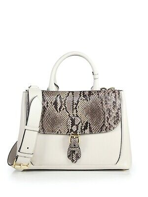 Authentic New BURBERRY Women's Beige Stone Leather Python SADDLE Tote Bag $1,975