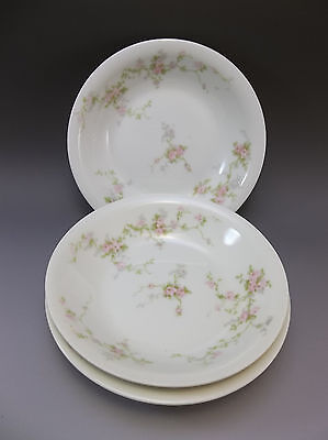 3 Theodore Haviland Limoges France Pink Roses Berry Bowl Dinnerware