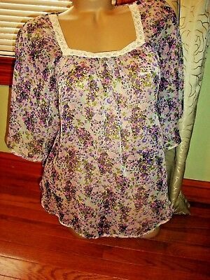Forever 21 purple floral sheer crochet baby doll flowing kimono sleeve top - M Baby Doll Kimono Top