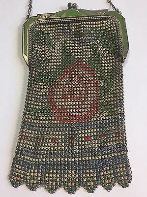 VINTAGE MESH EVENING BAG By WHITING & DAVIS 1920's FLAPPER PURSE