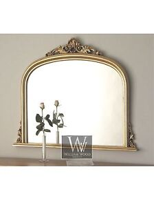 Amarone-Gold-Ornate-Overmantle-Vintage-Wall-Mirror-38-x-45-X-Large