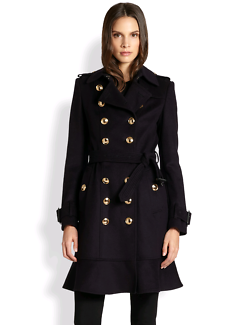 Burberry New Littleton gold button trench coat: cashmere wool