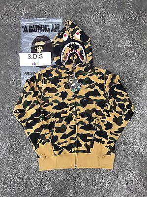 BAPE Yellow Camo PONR Shark Full-Zip Hoodie *Size XL* 100% AUTHENTIC