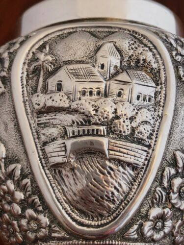 - SUPERB SOOSANIA INDIAN / PAKISTANI 950 SILVER TEA CADDY FLORAL VILLAGE SCENES