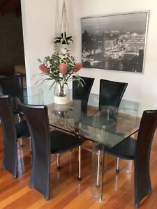 Glass Dining Table & Chairs New Condition