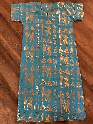 Egyptian Attire (Egyptian Tunic Women Long Dress Pharaoh Print with Gold Costume size)