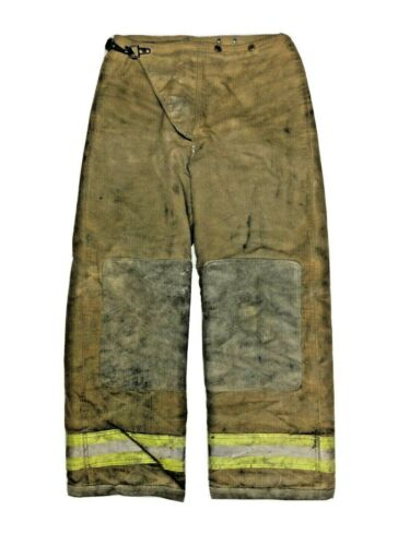 32x30 Globe Brown Firefighter Turnout Bunker Pants With Yellow Stripes P1262