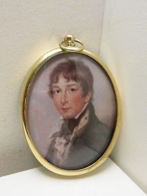 Portrait Miniature of young midshipman in an oval brass frame