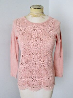 J Crew light pink spiderweb lace front 100% cotton knit t-shirt top S ()
