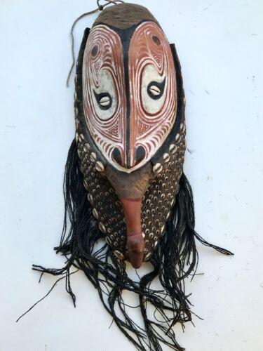 Old Papua New Guinea Quality Polychrome Wood / Clay Shells & Fiber Mask