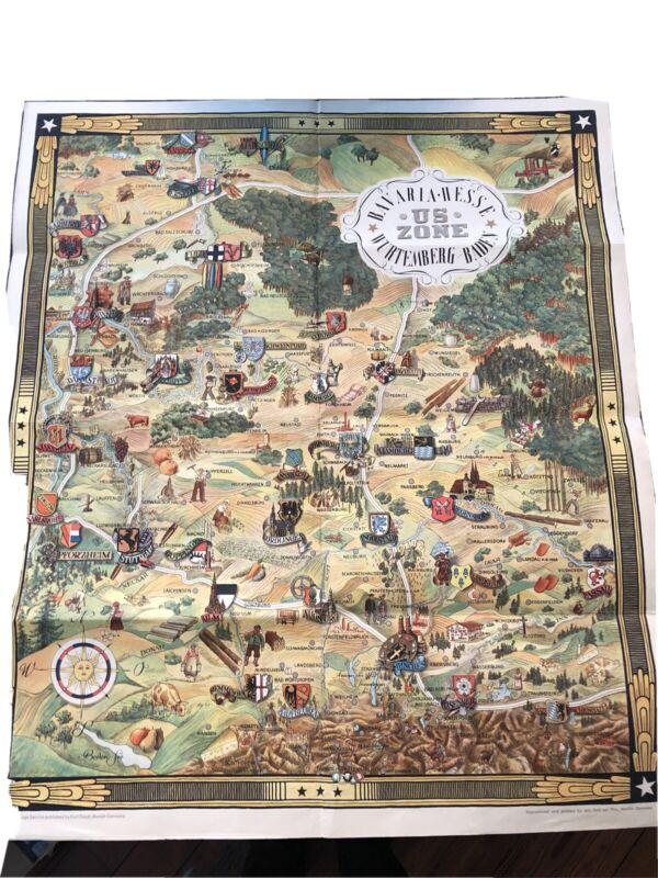 1947 US ZONE: BAVARIA HESSE WURTEMBURG BADEN PICTORIAL MAP
