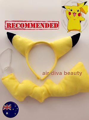 Pikachu Headband (Women Kid Child Pikachu Pockemon Costume Ear tail Party Hair head band Prop)