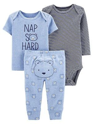 Child of Mine Carter's 3 Pc Baby Boy Outfit Long Sleeve Bodysuit T-Shirt & Pants