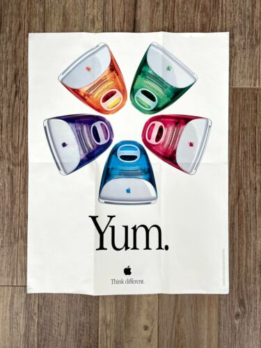 """Vintage Apple iMac """"Five Flavors Yum"""" Poster - from iMac Box of 1999"""