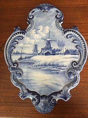 Nice Antique Or Vintage delft blue wall plaque Holland Dutch Windmill Hand Paint