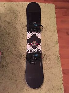 Women's snowboard, bindings, and boots