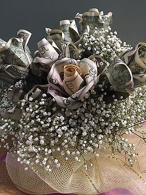 Real Dollar Bill Money Flower Bouquet Origami Custom Message Printing For Free !