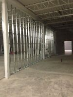 We do Steel stud framing and drywall installation ,t bar as well
