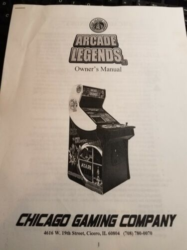 Arcade Legends manual for arcade game
