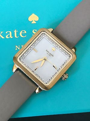Kate Spade Grey Leather Mother Of Pearl Crystal Washington Square Watch KSW1130