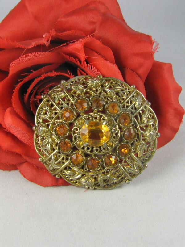 Vintage Amber Rhinestone Gold tone Ornate Pin  Brooch FERAL CAT RESCUE