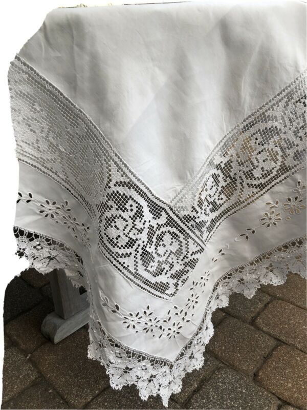 """GORGEOUS ANTIQUE ITALIAN MIXED LACE Linen Tablecloth Inserts Embroidery 89X74"""""""