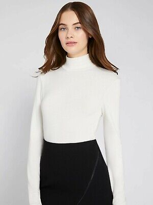 Alice + Olivia Garrison Mock Neck Top Long Sleeve Cream Zip Back Turtleneck S