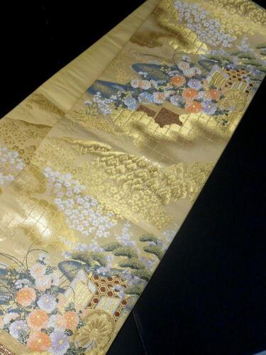 "Japanese Kimono SILK Fukuro OBI, Rokutu ,Gold, a Court carriage, L170""..1817"
