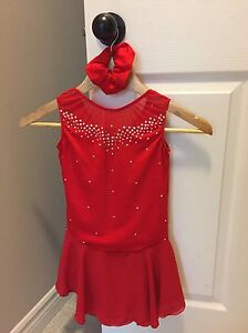 Red figure skating dress