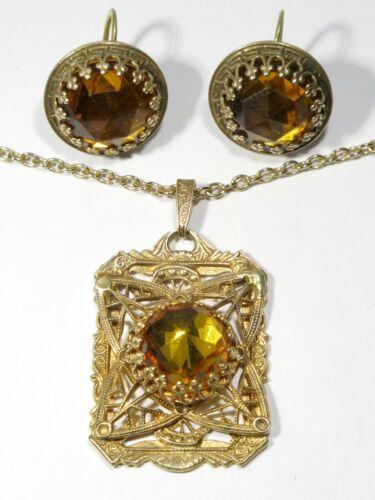 Vintage/Antique Art Deco Czech Vauxhall Glass Pendant Necklace & Earring Set