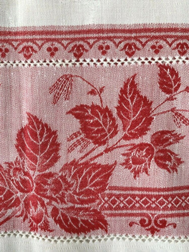 "pair antique linen damask towels fancy red woven borders 38x21.5"" lovely fabric"