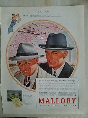 1940 Mallory  men's hats the Campus Circle drive Styles vintage fashion ad