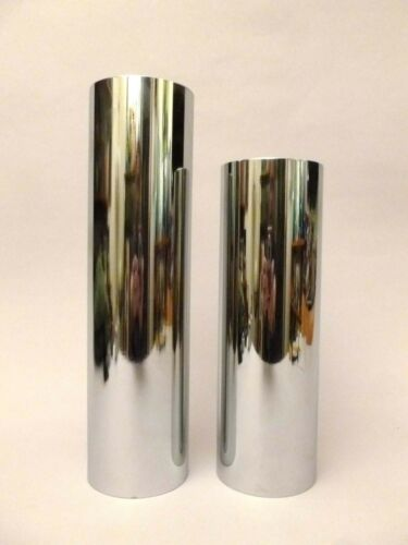 Mid Century Chrome Cylindrical Vases, Japan