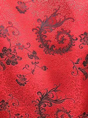 RED BLACK EMBROIDERED FLORAL BROCADE FABRIC (60 in.) Sold By The Yard](Red Brocade)