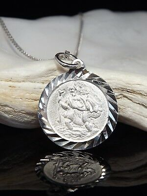 Sterling Silver 925 St Saint Christopher Pendant Necklace 16 18 20  Chain Boxed