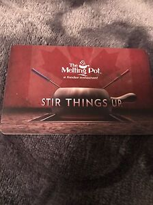 The melting pot gift card =$100 , selling for $80 or