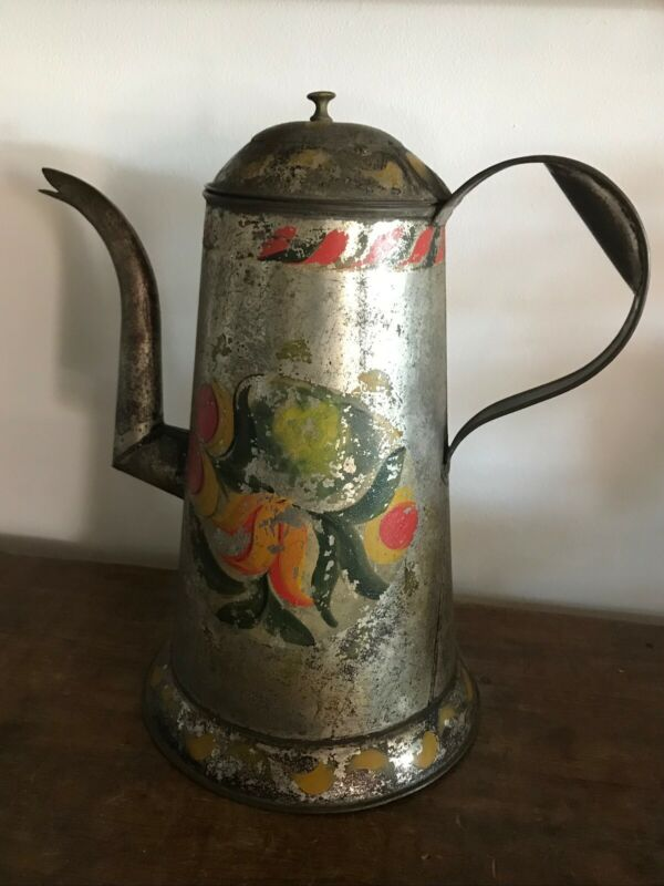 "Early Americana Tin Gooseneck spout 11"" Coffeepot, Tole paint 19th c"