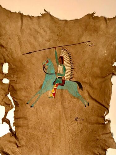 VINTAGE PLAINS PAINTED TANNED DEER HIDE,BEAUTIFUL BLUE WARRIOR'S HORSE,EXCELLENT