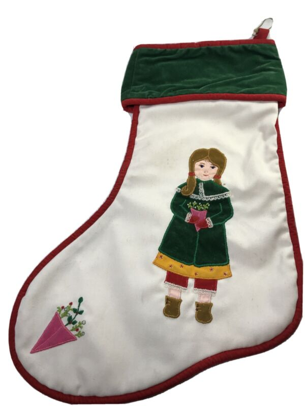 HOUSE OF HATTEN Stocking Christmas Traditional Victorian Girl 1976 Red and Green