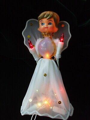 Vintage Christmas Tree Topper Angel Figure Lighted Body Chenille Tulle Plastic